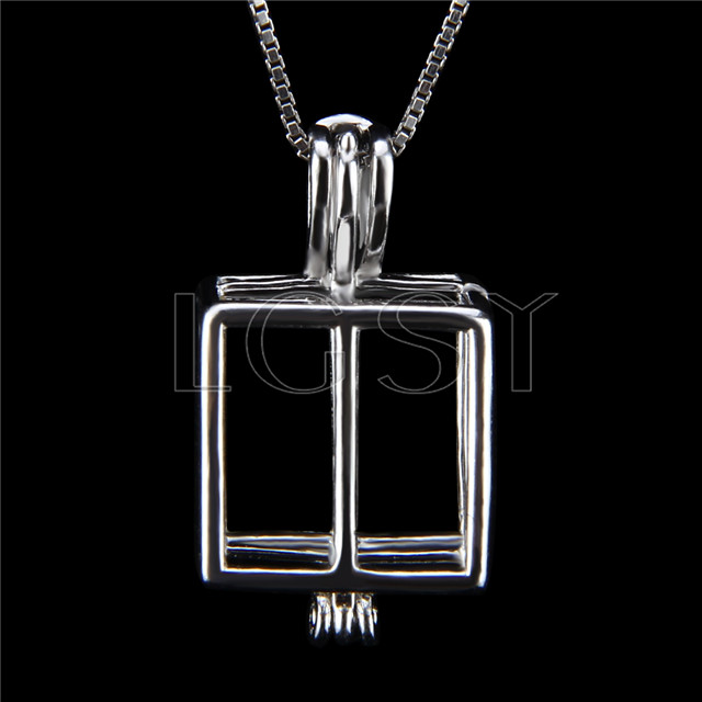 Fashion Christmas gift 925 Sterling Silver box Cage Pendant