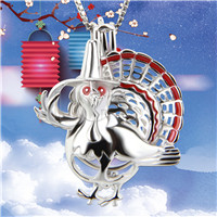 Thanks giving gift 925 Sterling Silver Dancing Turkey Cage Pendant
