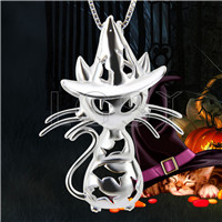 Halloween gift 925 Sterling Silver Evil Cat Cage Pendant