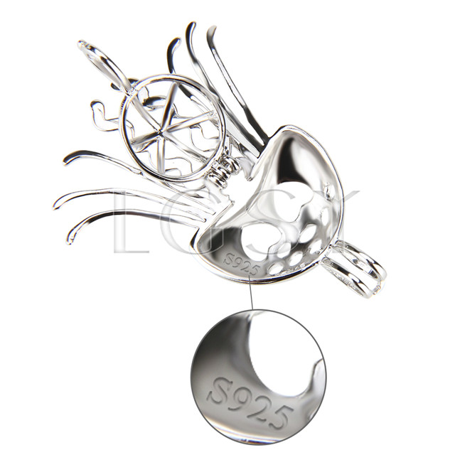 Fashion design 925 Sterling Silver Physalia physalis Cage Pendant