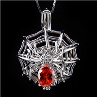 Latest 925 Sterling Silver Spider web Cage Pendant