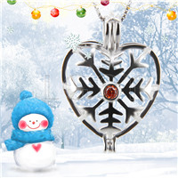 Christmas gift 925 Sterling Silver Snowflake love shape Cage Pendant
