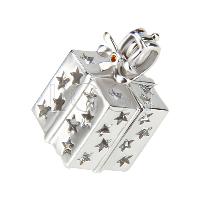 Christmas design 925 Sterling Silver gift box Cage Pendant