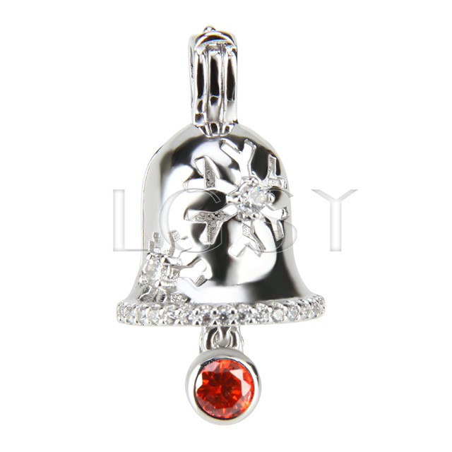 Christmas gift 925 Sterling Silver Christmas bell Cage Pendant