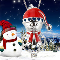 Christmas gift 925 Sterling Silver Lovely snowman Cage Pendant