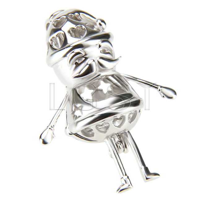 Christmas gift 925 Sterling Silver Santa Claus Cage Pendant