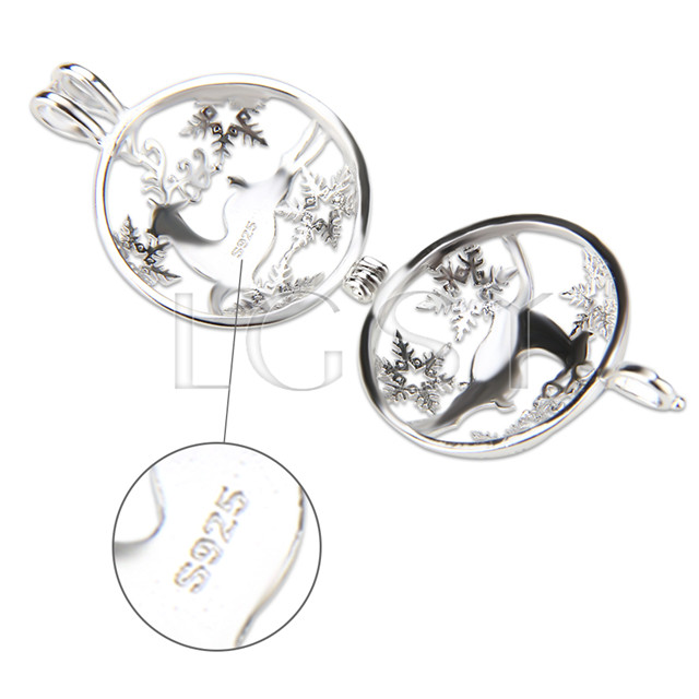 Christmas gift 925 Sterling Silver Sika deer Cage Pendant