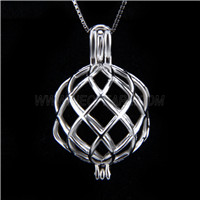 New design 925 Sterling Silver Fat twisted Cage Pendant
