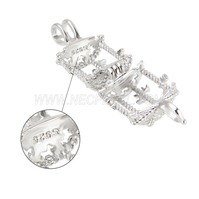 New design 925 Sterling Silver Merry-go-round Cage Pendant