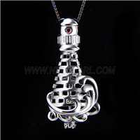 Fashion design 925 Sterling Silver Lighthouse Cage Pendant