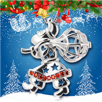 925 Sterling Silver Gift sending Santa Claus Cage Pendant