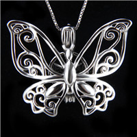 Latest design 925 Sterling Silver Butterfly Cage Pendant