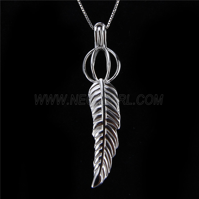 Latest design 925 Sterling Silver Feather Cage Pendant