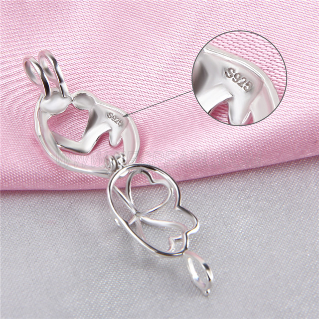 Fashion design 925 Sterling Silver Mother and kid Cage Pendant