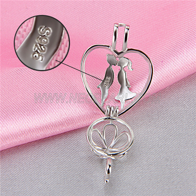 Fashion design 925 Sterling Silver Kissing lovers Cage Pendant