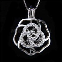 Fashion design 925 Sterling Silver Rose Cage Pendant