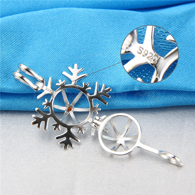 Newest design 925 Sterling Silver Snowflake Cage Pendant