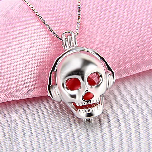 Cool design 925 Sterling Silver Music skull Cage Pendant