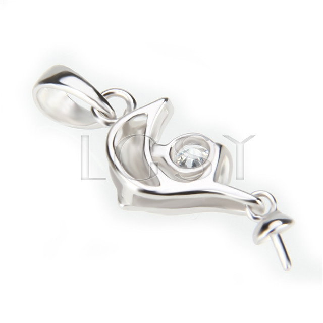 Latest 925 Sterling Silver Dolphin Shape Pendant mounting