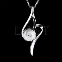 Elegant 925 Sterling Silver leaf Shape Pendant mounting
