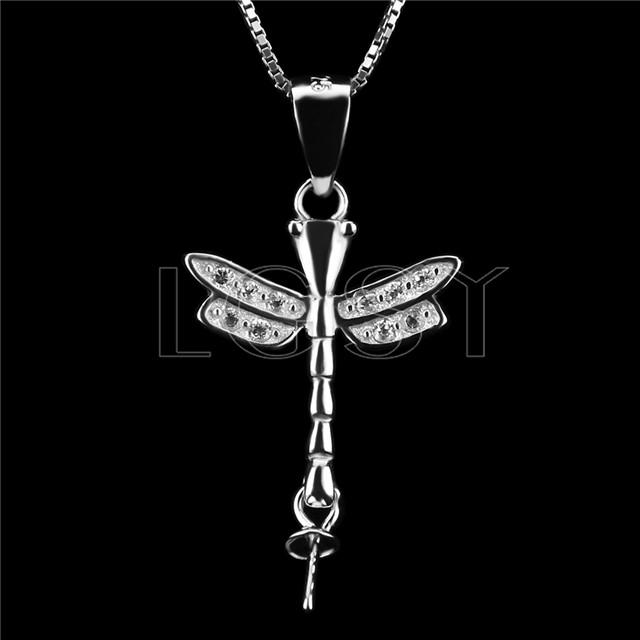 Elegant 925 Sterling Silver Dragonfly Shape Pendant mounting