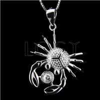 Elegant 925 Sterling Silver Crab Shape Pendant mounting
