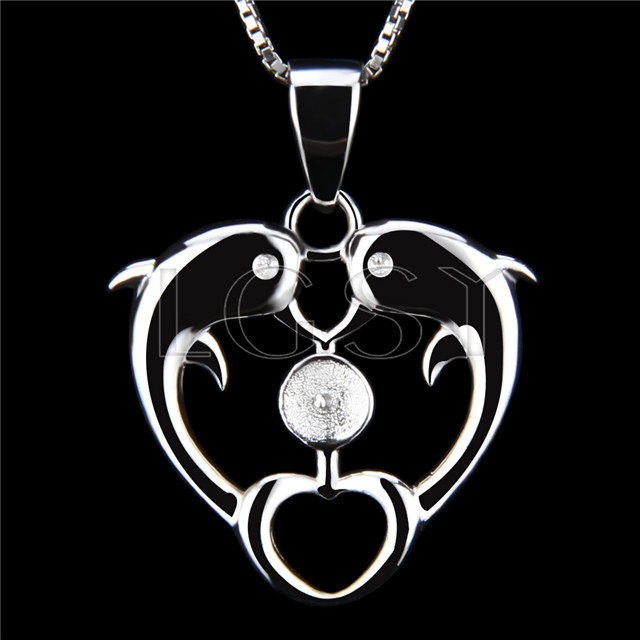 Newest 925 Sterling Silver Double dolphin Pendant fitting