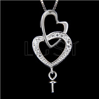 Newest 925 Sterling Silver Double heart Pendant fitting