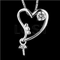 Fashion design 925 Sterling Heart shape Pendant fitting
