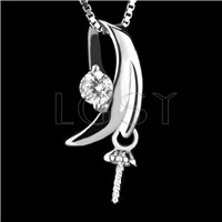 Fashion design 925 Sterling New moon Pendant fitting