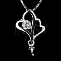 Fashion design 925 Sterling Sticking hearts Pendant fitting