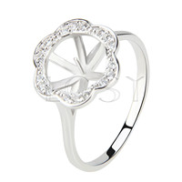 Latest Wholesale round flower design 925 Sterling Silver ring mounting