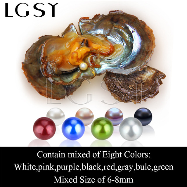wholesale 6-8mm saltwater round colorful Akoya pearl oyster 60pcs