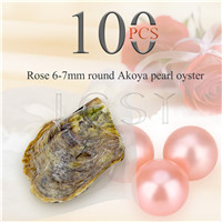 Attractive wholesale 6-7mm saltwater round Akoya Rose pearl oyster 100pcs