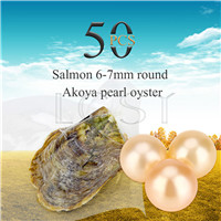 Shinning wholesale 6-7mm saltwater round Akoya Salmon pearl oyster 50pcs