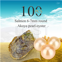 Attractive wholesale 6-7mm saltwater round Akoya Salmon pearl oyster 100pcs