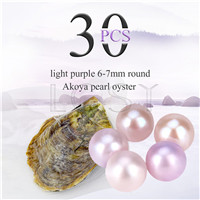 Fashion wholesale 6-7mm saltwater round Akoya Light purple pearl oyster 30pcs