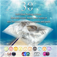 6-8mm saltwater round Akoya mixed 20 colors pearls oyster 30pcs