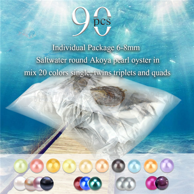 6-8mm saltwater round Akoya mixed 20 colors pearls oyster 90pcs