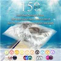 6-8mm saltwater round Akoya mixed 20 colors pearls oyster 150pcs