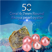 Latest Coral 6-7mm saltwater round Akoya pearl oyster 50pcs