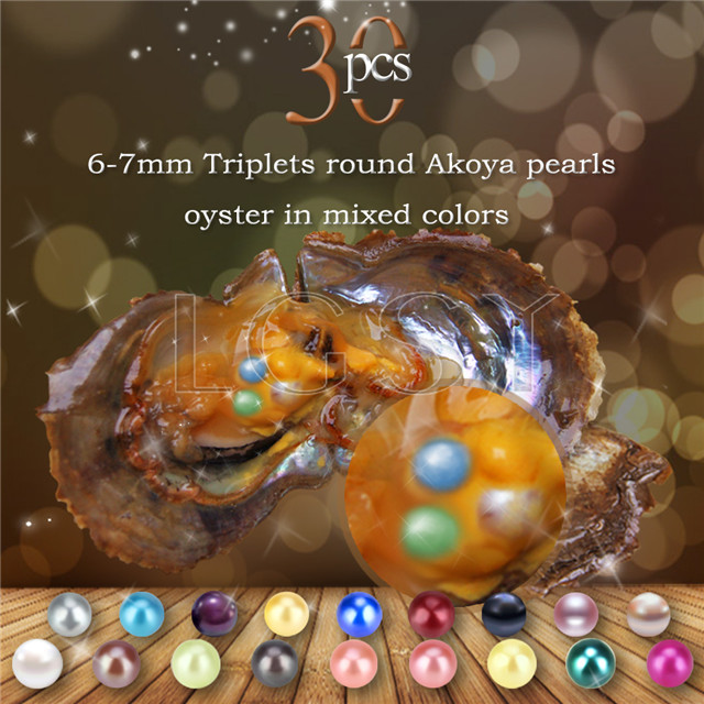 6-7mm mixed colors round Akoya Triplets pearls oyster 30pcs