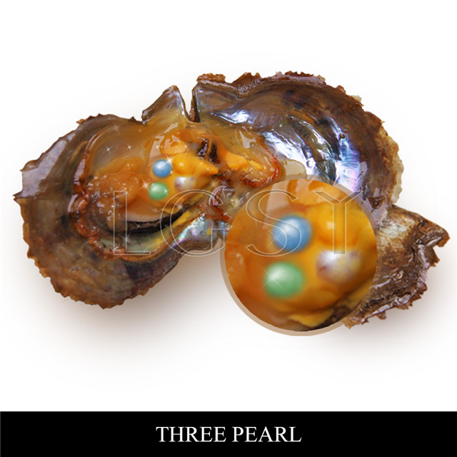 6-7mm mixed colors round Akoya Triplets pearls oyster 50pcs