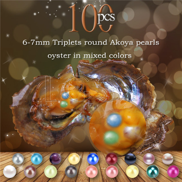 6-7mm mixed colors round Akoya Triplets pearls oyster 100pcs