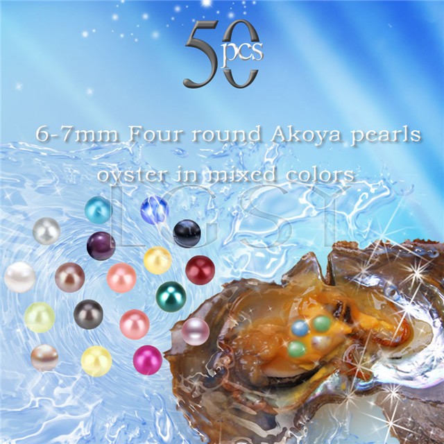 6-7mm mixed colors round Akoya Four pearls oyster 50pcs