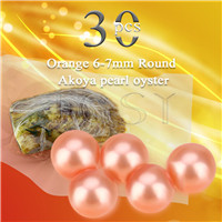 Latest Orange 6-7mm saltwater round Akoya pearl oyster 30pcs