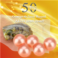 Latest Orange 6-7mm saltwater round Akoya pearl oyster 50pcs