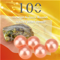 Latest 6-7mm Orange saltwater round Akoya pearl oyster 100pcs
