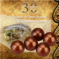 Latest Bronze 6-7mm saltwater round Akoya pearl oyster 30pcs