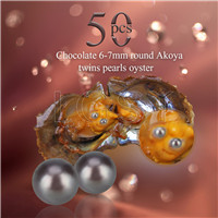 Newest 6-7mm Chocolate saltwater round Akoya twin pearls oyster 50pcs